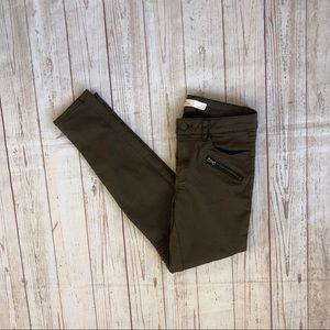 Zara Z1975 Denim olive green skinny pants size 6